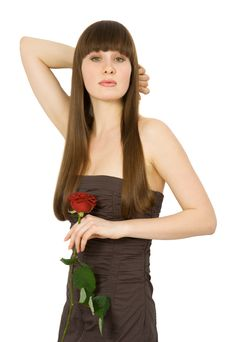 Free Attractive Brunette With Red Rose Stock Photography - 5166042