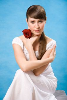 Free Attractive Brunette With Red Rose Stock Photo - 5166080