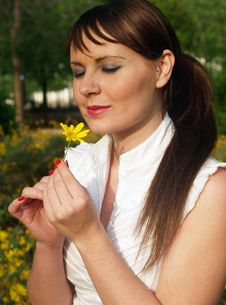 Free Woman With Yellow Flower Stock Image - 5166771