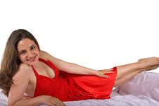 Free Beautiful Girl Posing In A Red Dress Royalty Free Stock Photo - 5167035