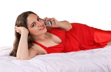 Free Beautiful Girl In Red Dress Talking And Smiling Stock Images - 5167154