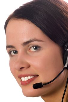 Free Hotline Operator With Headset Royalty Free Stock Photo - 5168155