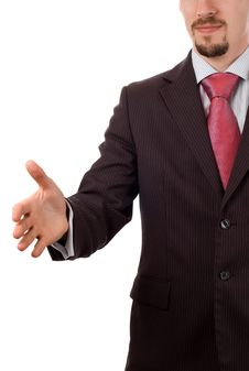 Free Businessman With An Open Hand Ready To Seal A Deal Stock Image - 5168181