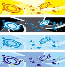 Four Abstract Banners