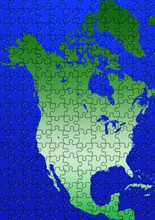 Puzzle North America Map Illustration Stock Image