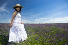 Free Beautiful Young Woman With White Dress In Nature Stock Image - 5169781