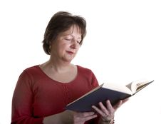 Free Woman In Red Reading A Book Stock Image - 5170291