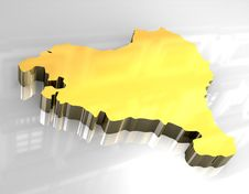 3d Golden Map Of Basque Royalty Free Stock Photo