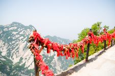 Free Red Ribbon And Lock On Huashan Stock Photography - 5174502
