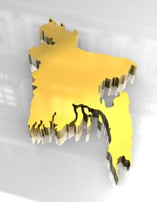 Free 3d Golden Map Of Bangladesh Royalty Free Stock Image - 5174576