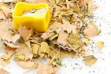 Free Yellow Pencils Sharpener On A Pile Of Shavings, Is Stock Images - 5174764