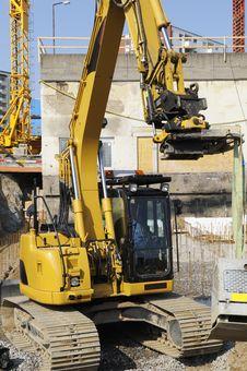 Free Bulldozer Inside Building Site Stock Photography - 5176272