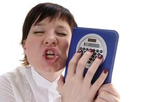 Free Craved Woman With Calculator Stock Images - 5177154