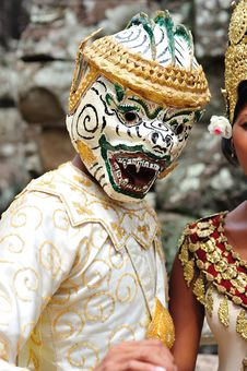 Cambodia; Angkor; Khon Mask Dancer Stock Photography