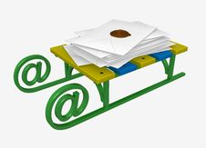 Sledge With A Pile Of Letters Royalty Free Stock Photography