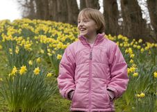 Free Girl Amongst Daffodils Stock Image - 5180051