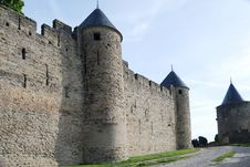 Free Old Defense Walls Of Carcasson Castle, France Royalty Free Stock Photography - 5180137