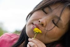 Woman With Dandelion Stock Image
