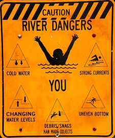 Free Caution River Signage Stock Photography - 5184512