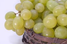 Free Green Grapes In Basket. Stock Images - 5184564