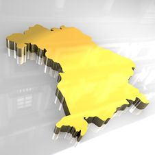 Free 3d Golden Map Of Bavaria Stock Photography - 5185172