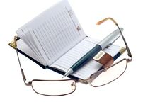 Free Notebook, Pen And Glasses Royalty Free Stock Image - 5186916
