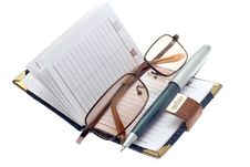 Free Notebook, Pen And Glasses Royalty Free Stock Photos - 5186918