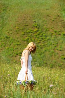 Sexy Girl Walk Away With Basket On A Meadow Stock Photos
