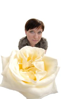 Free Fisheye Portrait Of Woman With Rose Stock Images - 5188654