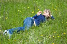 Free Girl On A Grass Stock Photos - 5188873