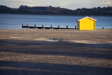Yellow Beach Hut Stock Photos