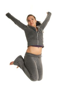 Free Jumping Woman Royalty Free Stock Photography - 5189687