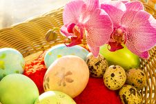 Free Easter And Quail Eggs In A Basket, Orchid, Morning Stock Images - 51827664