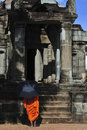 Free Cambodia Angkor Wat With A Monk Stock Image - 5195131
