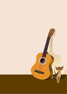Kitten And A Guitar Royalty Free Stock Photo