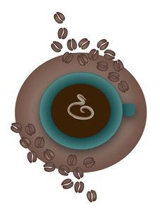 Free Coffee With Beans Royalty Free Stock Image - 5191356