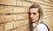 Free Blond Woman On Wall Stock Photos - 5192933