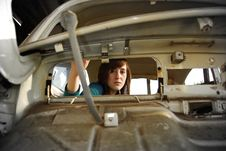 Girl In A Car Royalty Free Stock Images