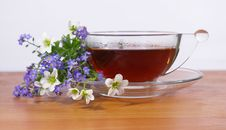 Free Black Tea In A Cup And Flowers Royalty Free Stock Image - 5193686