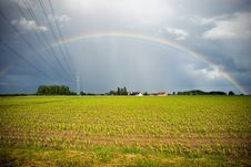 Free Power Supply Cables Entering A Rainbow Stock Images - 5194254