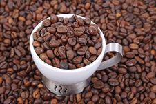 Free Cup Of Coffee Beans Royalty Free Stock Photography - 5194347