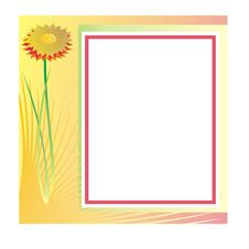 Photo Frame With Flower Stock Images