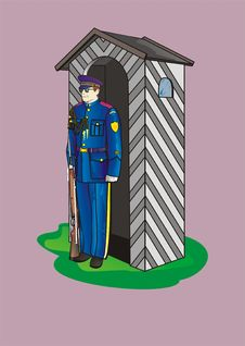 Free Soldier With Sentry-box Royalty Free Stock Image - 5194986