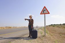 Free Hitchhiking Woman Royalty Free Stock Image - 5195956