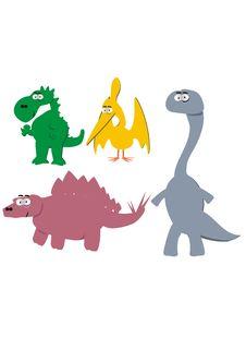 Free Cute Cartoon Dinosaurs Royalty Free Stock Photos - 5196078