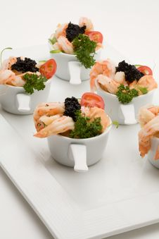 Free Prawn Appetizer With Caviar Stock Photo - 5196840