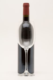 Free Red Wine Bottle With Empty Glass In Front Stock Photos - 5197163