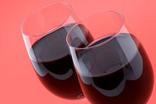 Free Two Glasses Of Red Wine Royalty Free Stock Image - 5197446