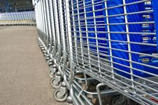 Free Row Of Light Carts For A Supermarket Stock Photography - 5198062