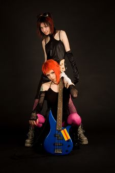 Free Two Rock Girls With Guitar Royalty Free Stock Images - 5198259